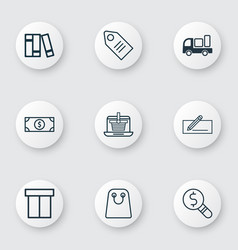 Set of 9 commerce icons includes money transfer vector