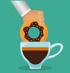 Hand holding donut with coffee cup vector
