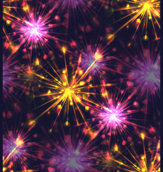 Seamless texture with festive fireworks of hearts vector