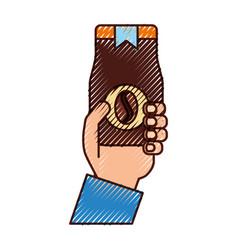 Hand human with coffee toast bag icon vector
