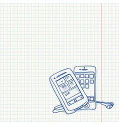 Mobile phone sketch vector