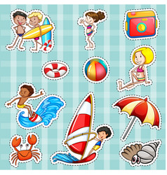 Sticker design for tourists at sea vector