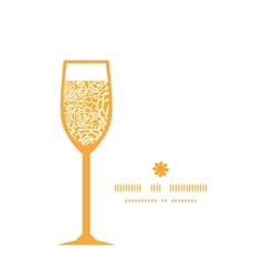 Golden lace roses wine glass silhouette pattern vector