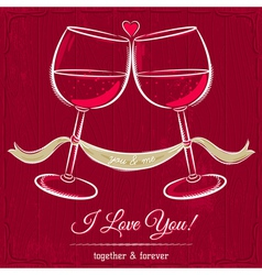 Red valentine card with two glass of wine vector
