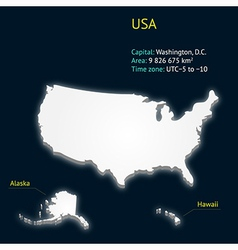 3d map of the USA vector image