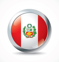 Peru flag button vector
