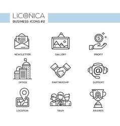 Set of modern office line flat design icons and vector