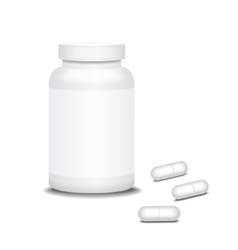 Pill medicine bottle and capsule vector