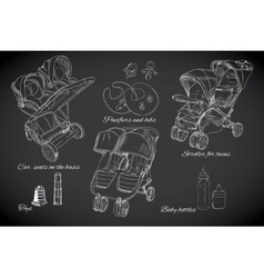 Hand drawn set for twins graphic sketch strollers vector