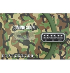 Background Coming Soon and countdown timer Camo vector image