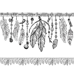 Background with feathers and Pattern brush vector image