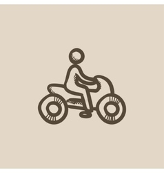 Man riding motorcycle sketch icon vector