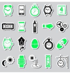 Time theme modern simple stickers set eps10 vector