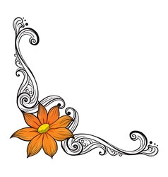 A border with an orange flower vector image