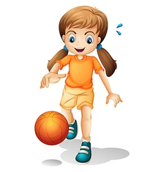 A young girl playing basketball vector image vector image