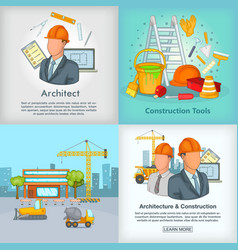 Architecture banner set cartoon style vector