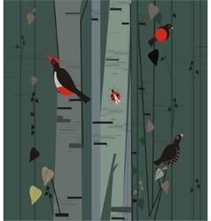 Birch grove with birds vector
