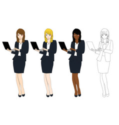 business woman with laptop vector image vector image