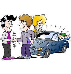 Cartoon of a family there has agreed a deal to vector