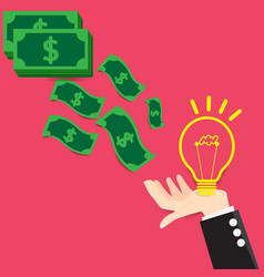 concept bulb light idea exchange money vector image