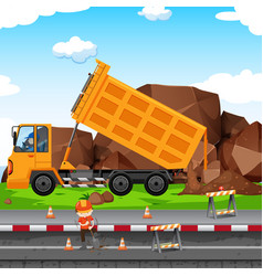 Construction site with man and tractor vector