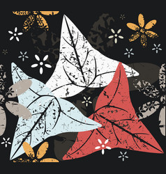 contrast seamless pattern with leaves and flowers vector image vector image
