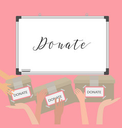 donation fundraiser hands holding box charity vector image vector image