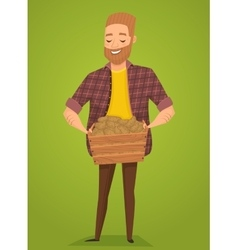 Farmer with a basket in the hands of harvest vector image vector image