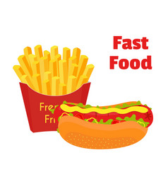 fast food hot dog french friesflat style vector image vector image