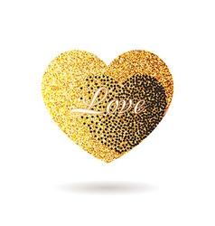 Gold glitter heart valentine day banner card vector