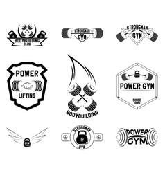 Gym emblems logo design vector
