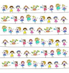 hand drawing cartoon happy kids vector image vector image