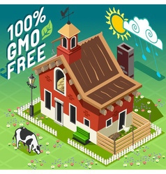 Isometric gmo free farming vector