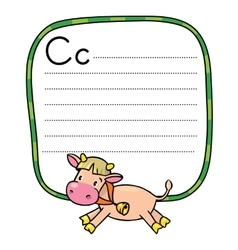 Little funny cow or calf for abc alphabet c vector