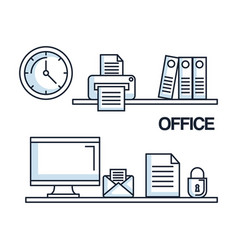 office computer mail paper security clock printer vector image