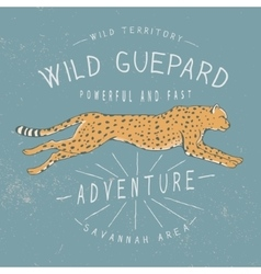 Old label with running guepard vector