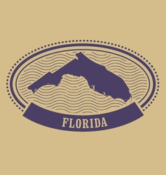 Oval stamp with florida state silhouette - fl vector
