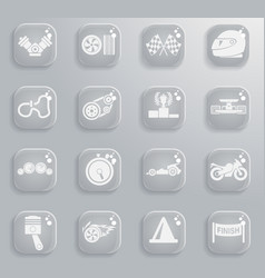 racing icon set vector image vector image