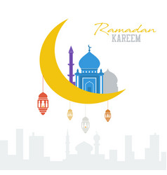 Ramadan kareem concept muslim mosque with vector