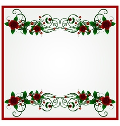 Rose floral frame background vector