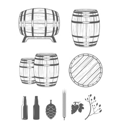Set Barrels and Design Elements vector image