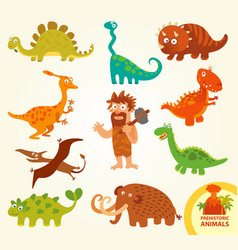 Set funny prehistoric animals cartoon character vector