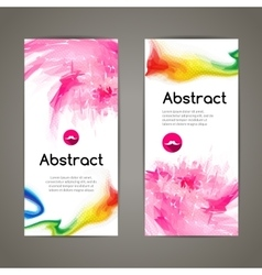 Set of polygonal and spots pink geometric banners vector