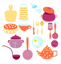 set with kitchen tools and utensils vector image vector image