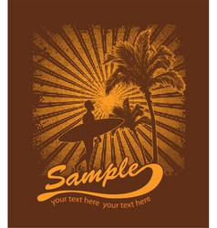summer t-shirt design with surfer vector image vector image
