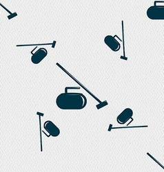 The stone for curling icon sign Seamless pattern vector image vector image