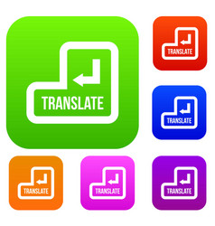 translate button set collection vector image