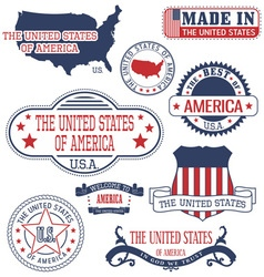 United states set of generic stamps and signs vector