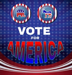 Vote for america elephant versus donkey banner vector