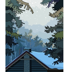Winter landscape over the roof the house vector image